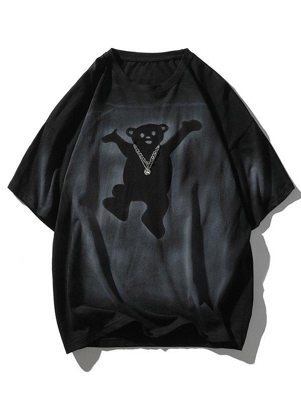 Men's Welcome Bear Printed Tee - Black 2XL