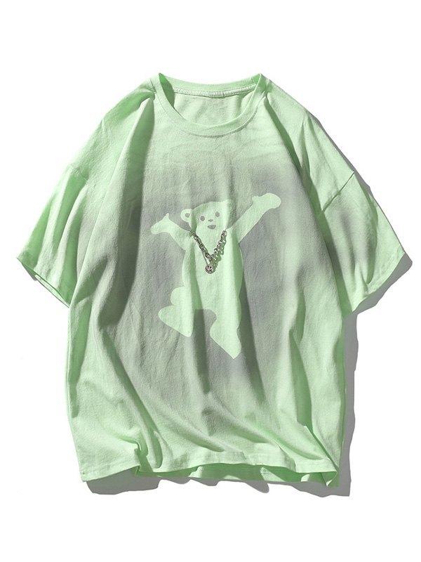 Men's Welcome Bear Printed Tee - Green XL
