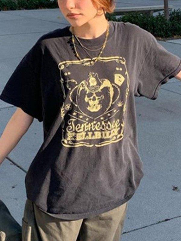Skull Billy Graphic Oversized Tee - Black L
