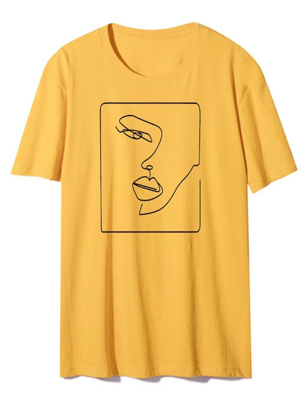 Abstract Face Graphic Tee - Yellow 2XL