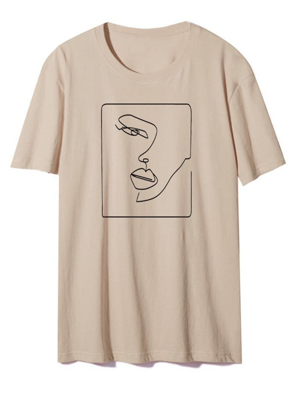Abstract Face Graphic Tee - Khaki XS