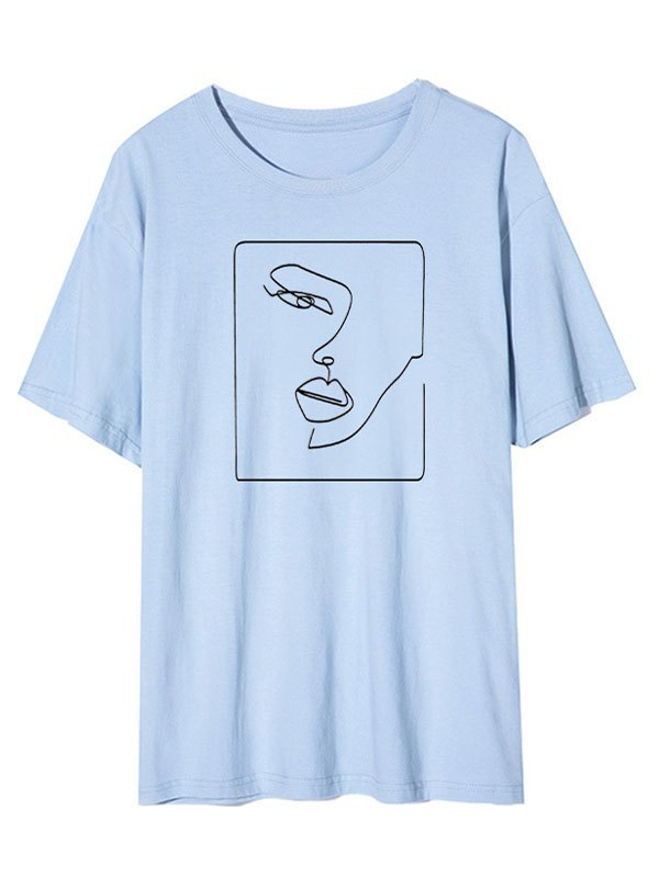 Abstract Face Graphic Tee - Blue XL