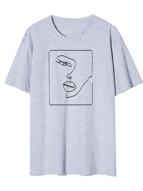 Abstract Face Graphic Tee - Gray S