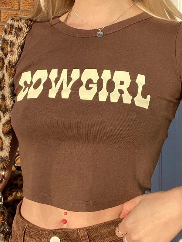 Cow Girl Graphic Crop Top - Coffee S