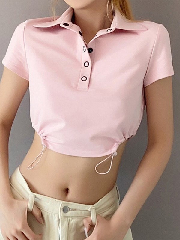 Drawstring Polo Neck Crop Top - Pink L