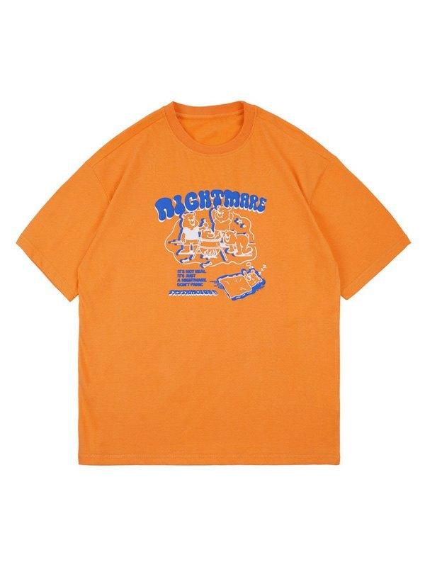 Men's Nightmare Bear Graphic Tee - Orange XL