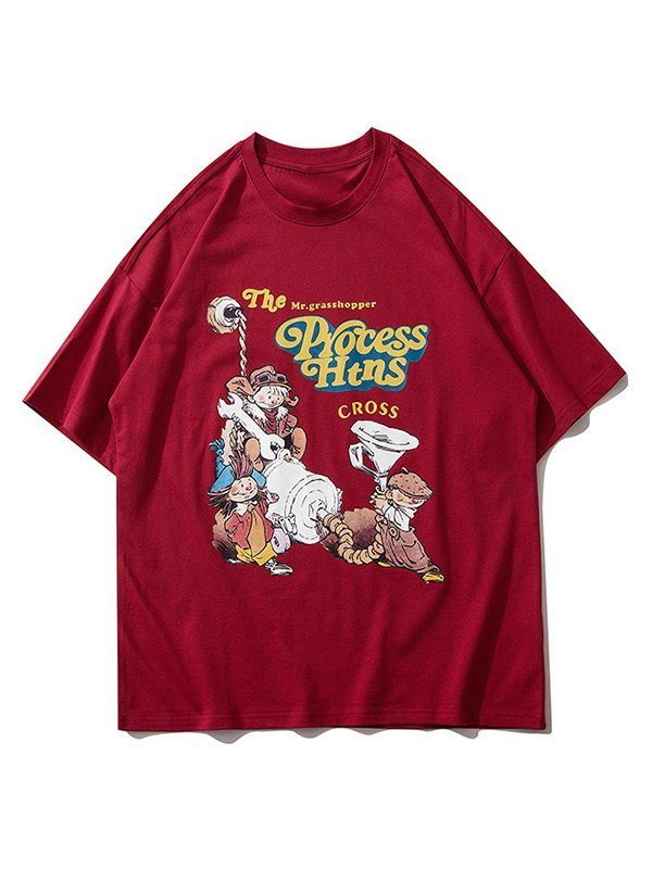 Men's Cartoon Graphic Crew Tee - Red M