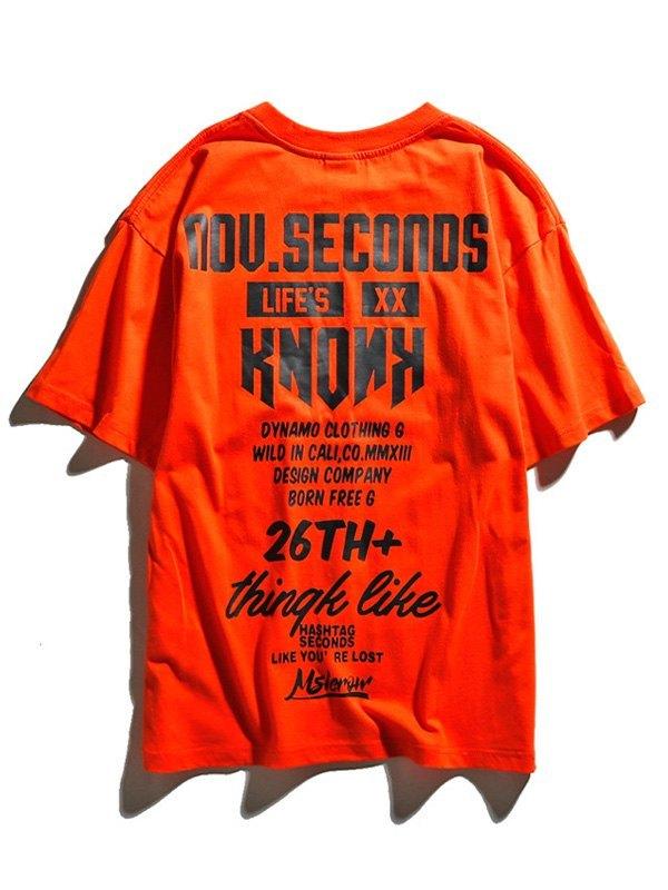 Men's Logo Print Crew Tee - Orange L