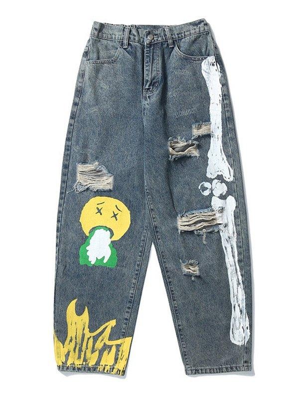 Men's Vintage Doodle Ripped Jeans - Blue XL