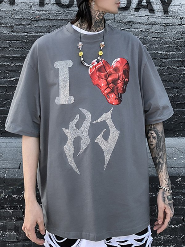 Men's Rhinestone Love Graphic Tee - Gray XL