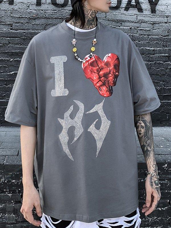Men's Rhinestone Love Graphic Tee - Gray M