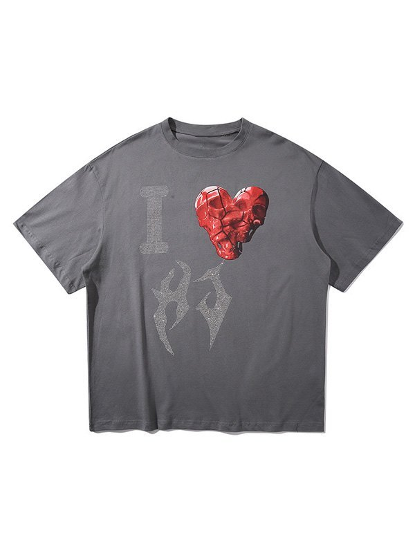 Rhinestone Love Graphic Oversized Tee - Gray XL