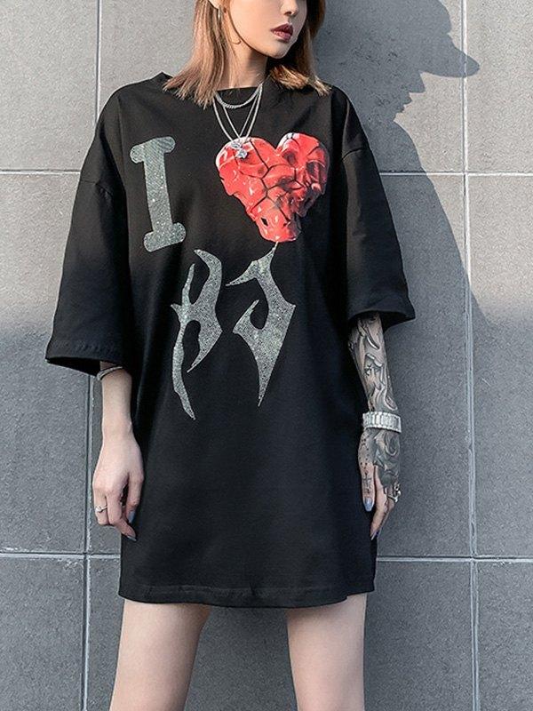 Rhinestone Love Graphic Oversized Tee - Black L