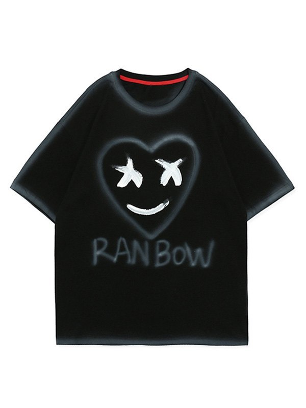 Men's Smiley Love Painted Tee - Black XL
