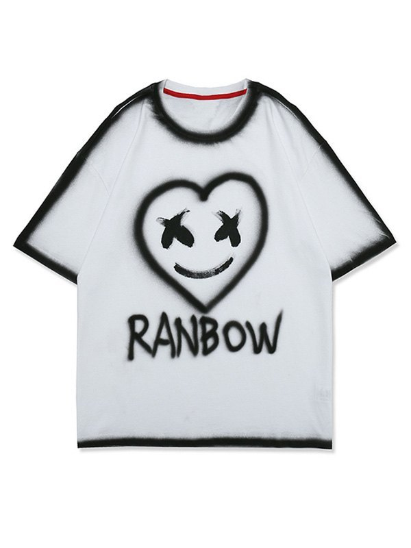 Men's Smiley Love Painted Tee - White L