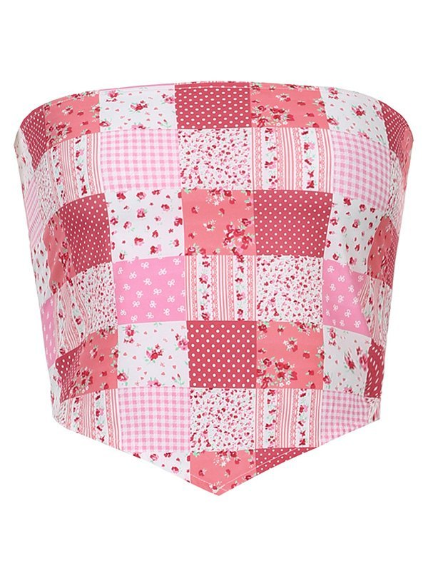 Checked Floral Print Bandeau Top - Pink ONE SIZE