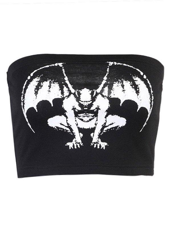 Vampire Print Bandeau Top - Black S