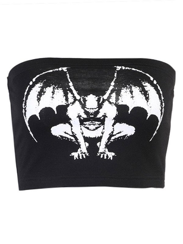 Vampire Print Bandeau Top - Black L
