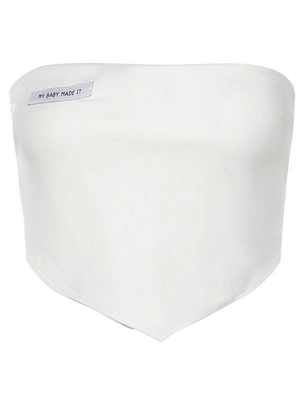 Asymmetric Patched Bandeau Top - White S