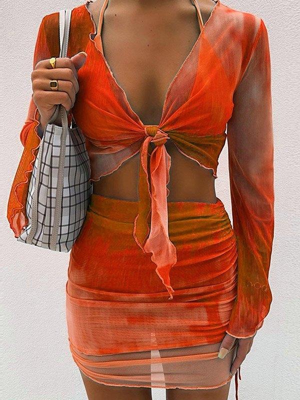Mesh Tie-Dye Skirt Set - Orange Red XS
