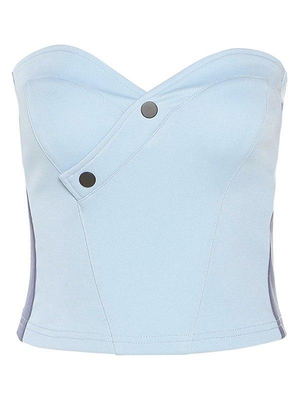 Contrast Buttoned Bandeau Top - Pure Blue S