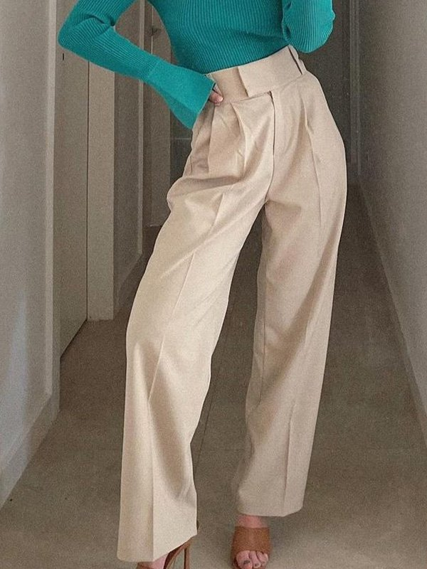 Straight Leg Solid Tailored Pants - Apricot M