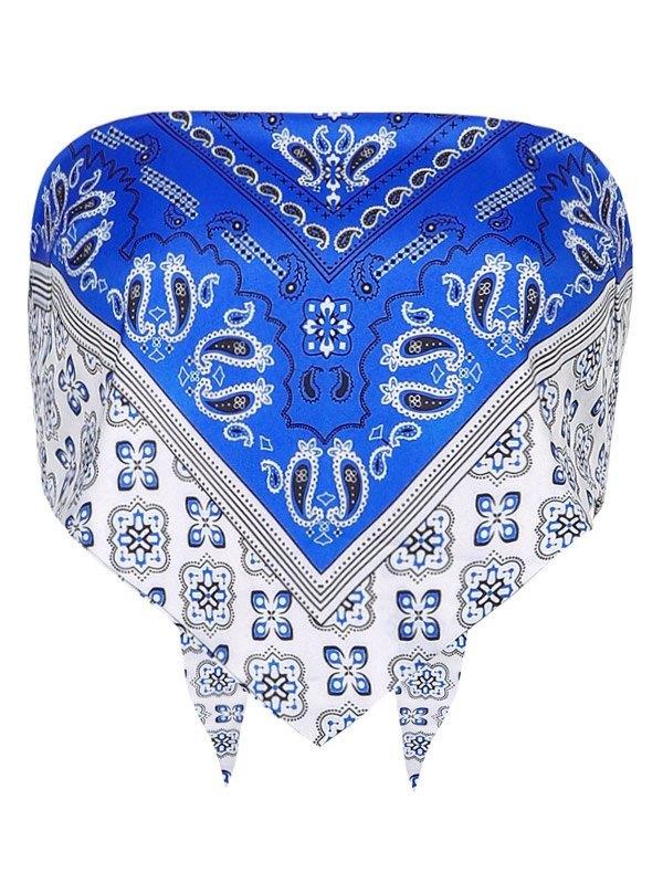 Vintage Paisley Print Bandeau Top - Blue S