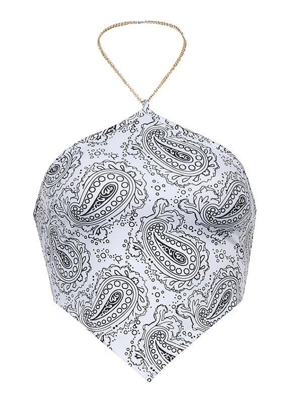 Halter Chain Paisley Print Bandeau Top - White L
