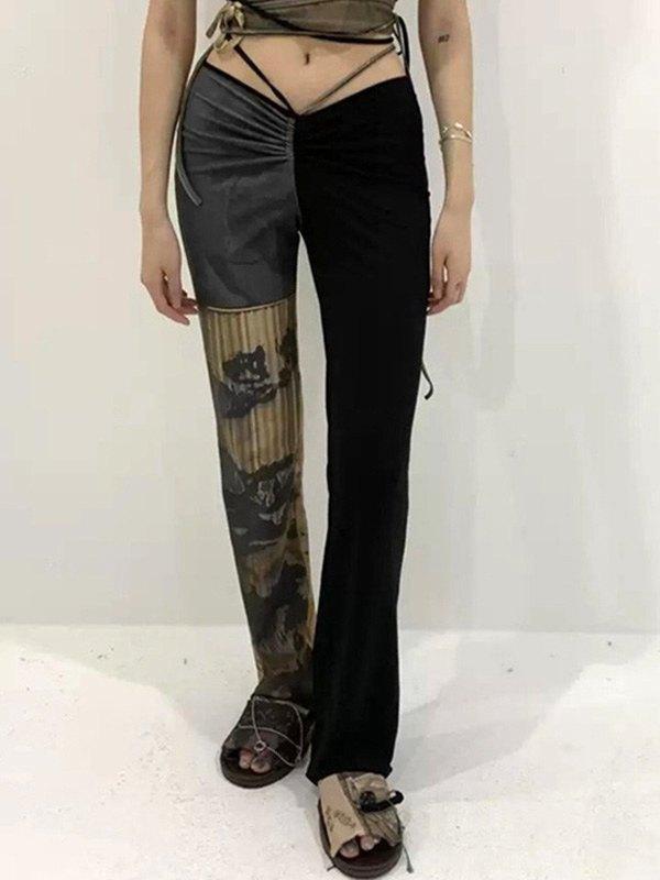 Low Rise Patchwork Printed Pants - Black M