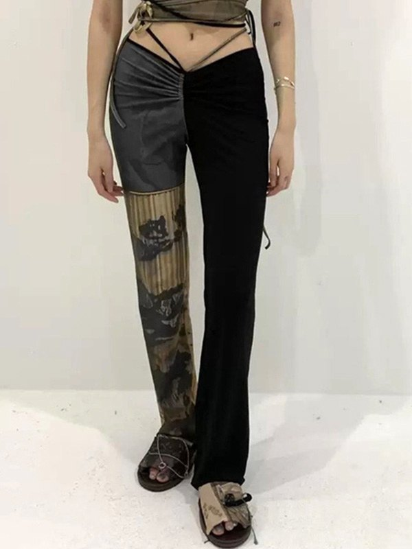 Low Rise Patchwork Printed Pants - Black L