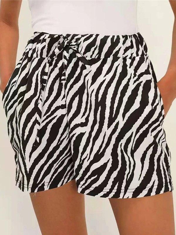 Zebra Stripe Drawstring Shorts - Black L