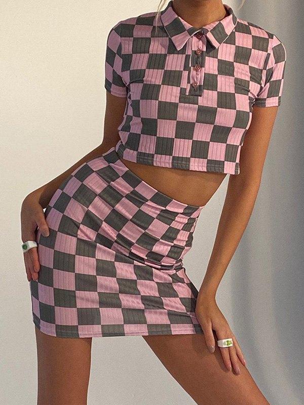 Checkered Print Short Sleeve Set - Lilac L