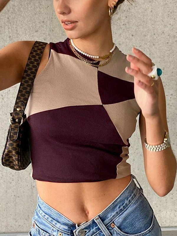 Patchwork Cropped Tank Top - Brown S