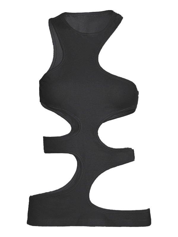 Irregular Cutout Tank Top - Black S