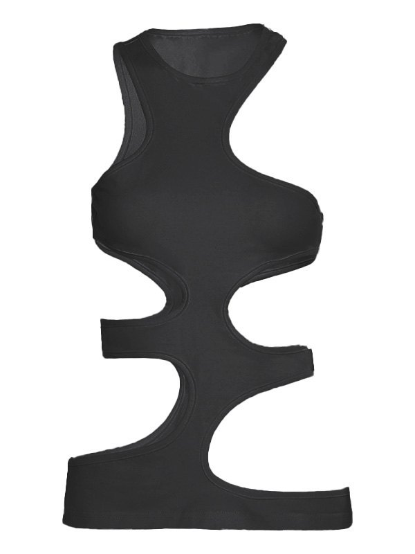 Irregular Cutout Tank Top - Black L