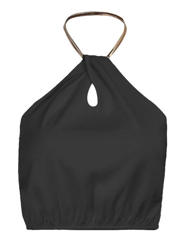 Metallic Chain Halter Crop Cami Top - Black M