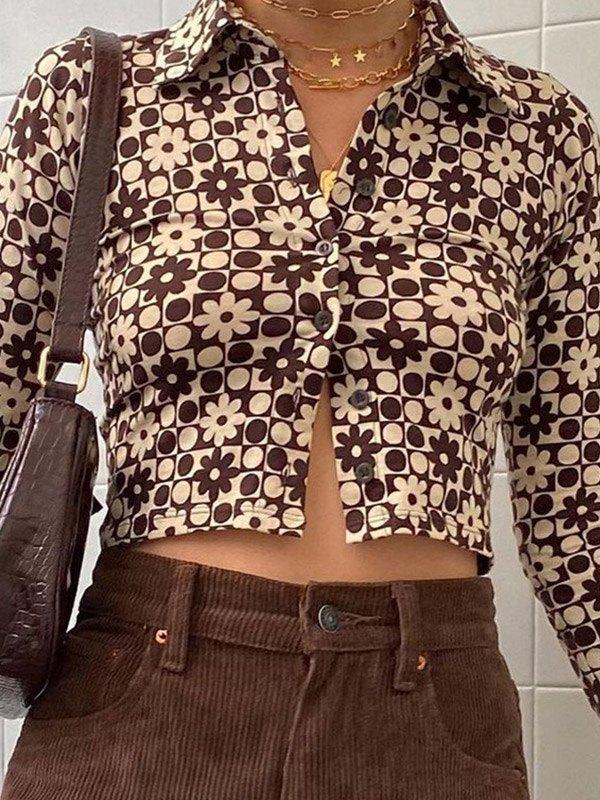 Vintage Checkered Print Crop Blouse -