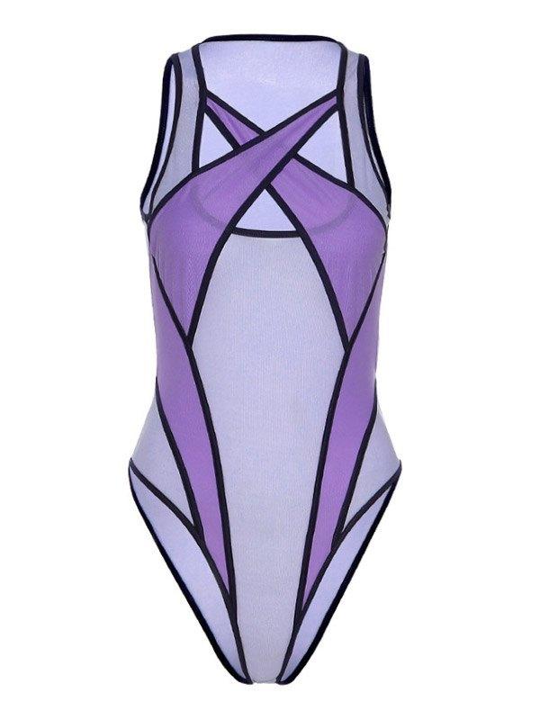 Sheer Mesh Splice Cutout Bodysuit - Lilac S