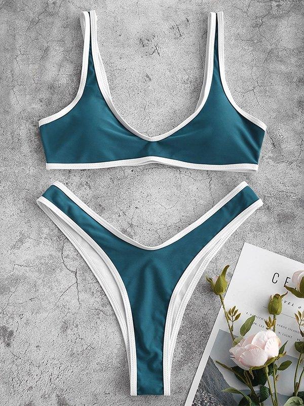 Contrast Strap Bikini Set - Turquoise Green XL