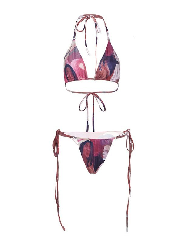 Lace Up Printed Halter Bikini Set - multicolorple Colors M