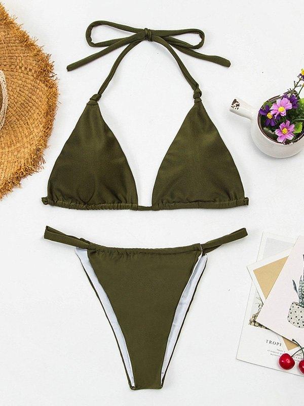 Knotted Halter Bikini Set - Chive S