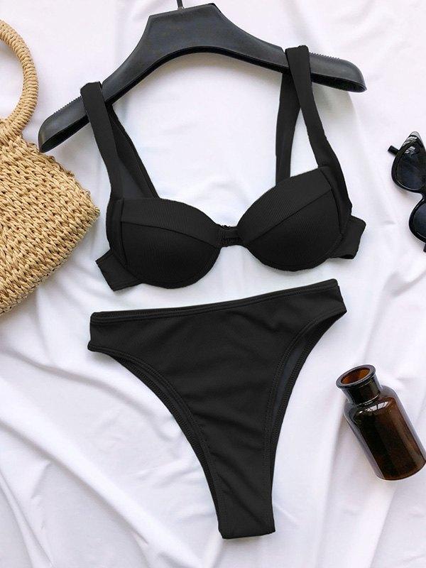 High Waist Underwire Bikini Set - Black L
