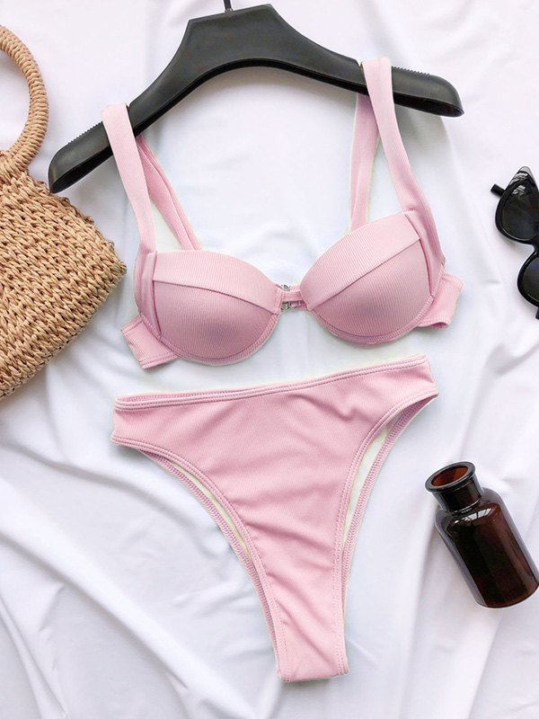 High Waist Underwire Bikini Set - Pink S