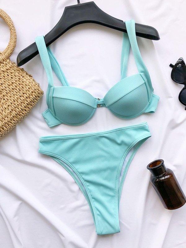 High Waist Underwire Bikini Set - Blue M