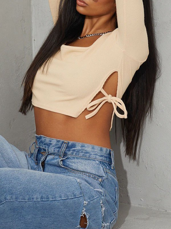 Lace-Up Ribbed Long Sleeve Crop Top - Apricot S
