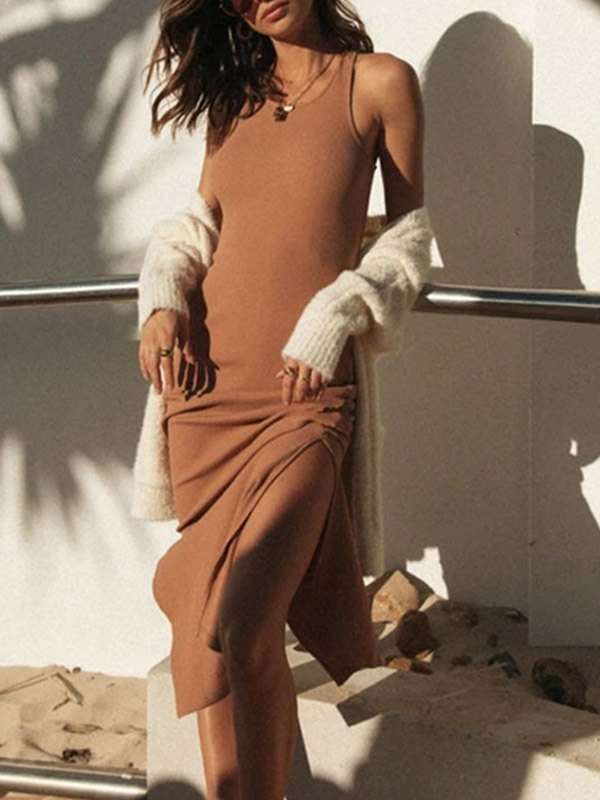 Split Hem Rib Knit Midi Dress - Khaki S