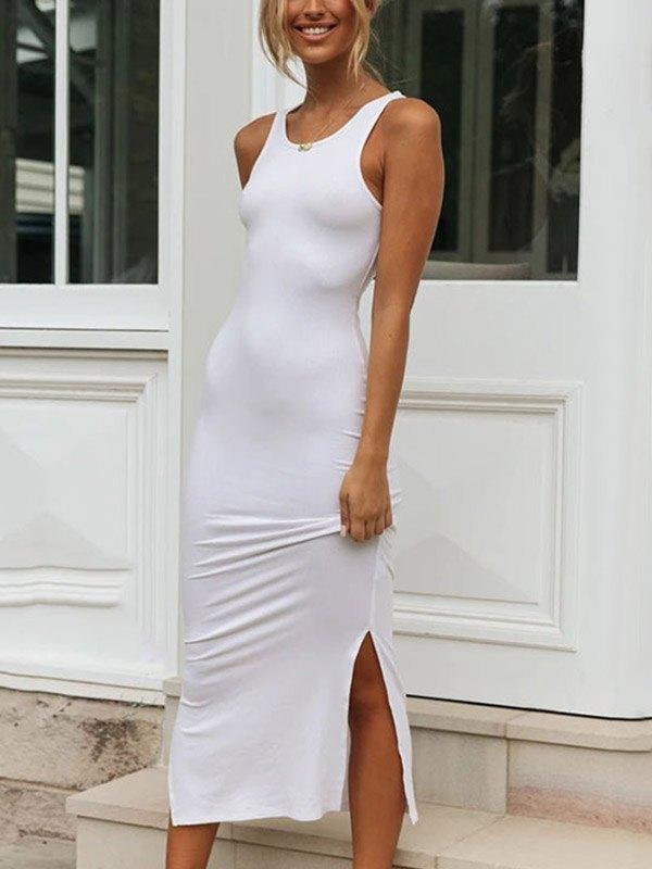 Split Hem Rib Knit Midi Dress - White L