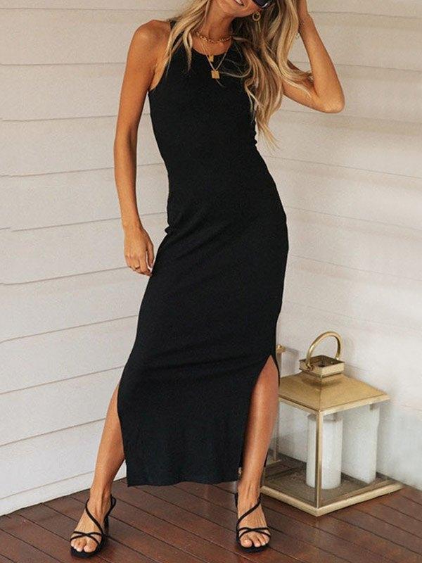 Split Hem Rib Knit Midi Dress - Black L