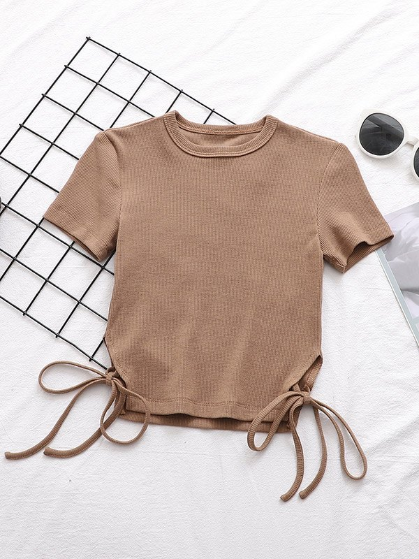 Lace-Up Short Sleeve Crop Top - Camel S