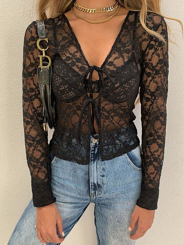 Flocked Mesh Sheer Knot Front Top - Black M